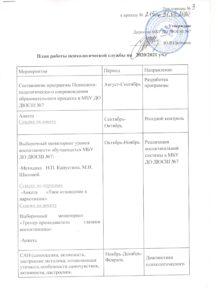 ПЛАН ПСИХОЛОГИЧЕСКОЙ СЛУЖБЫ на 2020-2021 уч.г